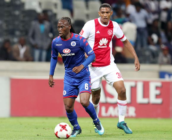 Reneilwe Letsholonyane of Supersport United challenged by Mario Booysen of Ajax Cape Town during the Absa Premiership 2017/18 match between Supersport United and Ajax Cape Town at Mbombela Stadium, Mpumalanga South Africa on 29 November 2017 ©Muzi Ntombela/BackpagePix