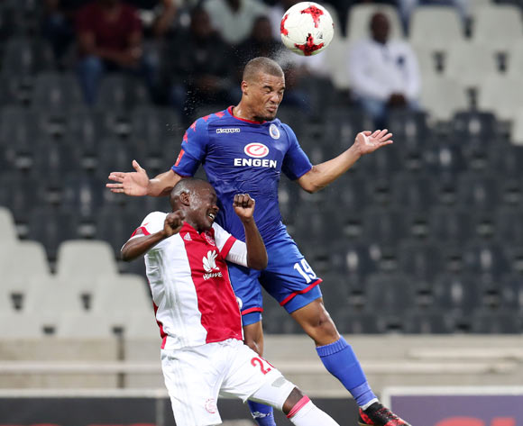 Fagrie Lakay of Supersport United clears ball from Masilake Phohlongo of Ajax Cape Town during the Absa Premiership 2017/18 match between Supersport United and Ajax Cape Town at Mbombela Stadium, Mpumalanga South Africa on 29 November 2017 ©Muzi Ntombela/BackpagePix
