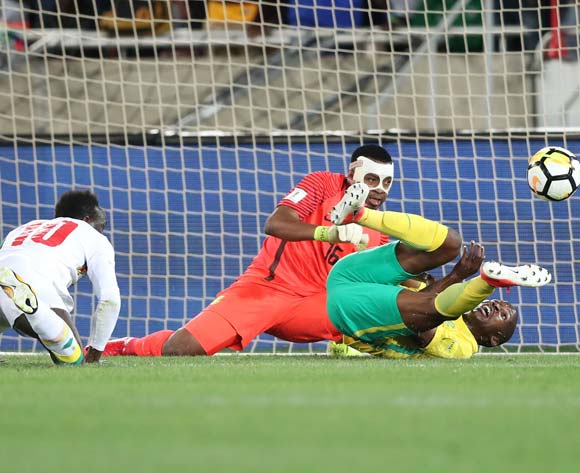 Thamsanqa Mkhize of South Africa scores own goal after shot from Sadio Mane of Senegal as Itumeleng Khune looks on during the 2018 World Cup qualifying football match between South Africa and Senegal at Peter Mokaba, Stadium, Polokwane, South Africa on 10 November 2017 ©Gavin Barker/BackpagePix
