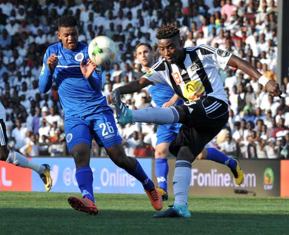 Sipho Mbule of Supersport United Nathan Sinkala of TP Mazembe during 2017 CAF Confederations Cup Final Supersport United training at TP Mazembe Stadium in Stade Kamalondo DRC on 19 November 2017  © Aubrey Kgakatsi /BackpagePix