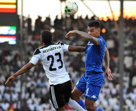 Clayton Daniels of Supersport United challenged by Mechak Elia of TP Mazembe during 2017 CAF Confederations Cup Final Supersport United training at TP Mazembe Stadium in Stade Kamalondo DRC on 19 November 2017  © Aubrey Kgakatsi /BackpagePix