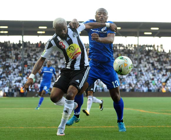 Thuso Phala of Supersport United challenges Jean Kasusula of TP Mazembe during 2017 CAF Confederations Cup Final Supersport United training at TP Mazembe Stadium in Stade Kamalondo DRC on 19 November 2017  © Aubrey Kgakatsi /BackpagePix