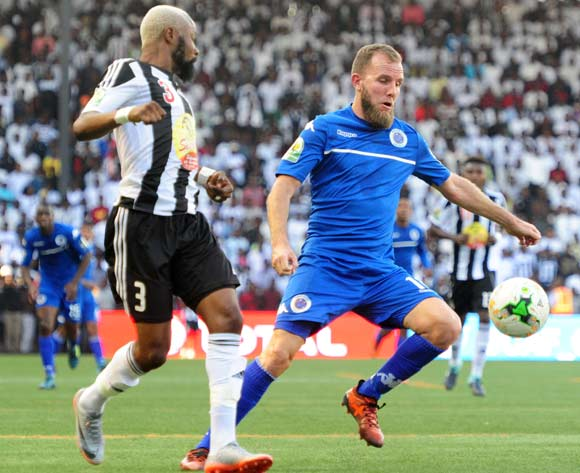 Jeremy Brockie of Supersport United challenged by Jean Kasusula of TP Mazembe during 2017 CAF Confederations Cup Final Supersport United training at TP Mazembe Stadium in Stade Kamalondo DRC on 19 November 2017  © Aubrey Kgakatsi /BackpagePix