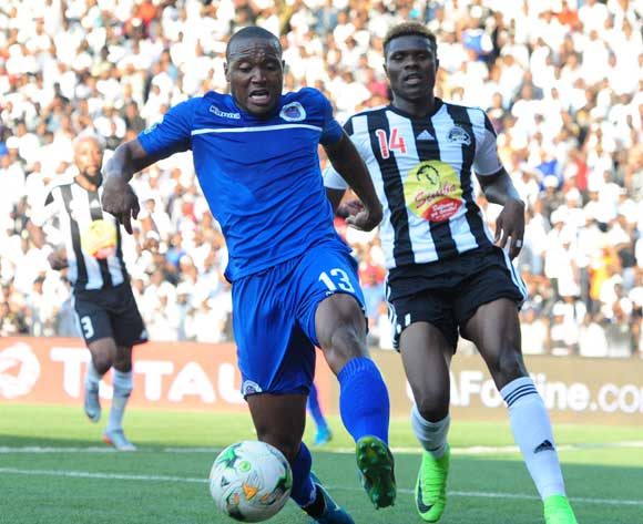 Thuso Phala of Supersport United challenged by Chongo Kabaso of TP Mazembe during 2017 CAF Confederations Cup Final Supersport United training at TP Mazembe Stadium in Stade Kamalondo DRC on 19 November 2017  © Aubrey Kgakatsi /BackpagePix