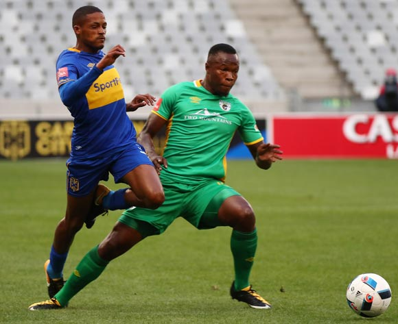 Craig Martin of Cape Town City battles for the ball with Letladi Madubanya of Baroka FC during the Absa Premiership 2017/18 football match between Cape Town City FC and Baroka FC at Cape Town Stadium, Cape Town on 21 November 2017 ©Chris Ricco/BackpagePix