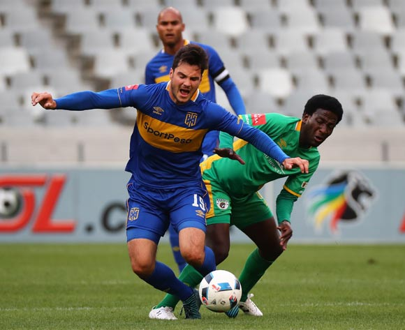 Roland Putsche of Cape Town City FC fouled by Siphelele Ntshangase of Baroka FC during the Absa Premiership 2017/18 football match between Cape Town City FC and Baroka FC at Cape Town Stadium, Cape Town on 21 November 2017 ©Chris Ricco/BackpagePix