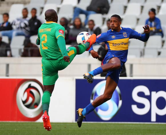 Craig Martin of Cape Town City battles for the ball with Matome Kgoetyane of Baroka FC during the Absa Premiership 2017/18 football match between Cape Town City FC and Baroka FC at Cape Town Stadium, Cape Town on 21 November 2017 ©Chris Ricco/BackpagePix