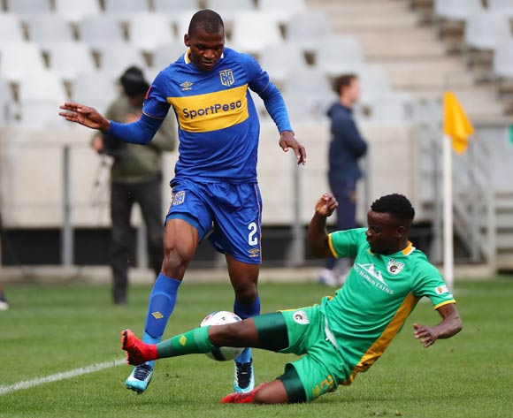 Thamsanqa Mkhize of Cape Town City FC challenged by Sipho Moeti of Baroka FC during the Absa Premiership 2017/18 football match between Cape Town City FC and Baroka FC at Cape Town Stadium, Cape Town on 21 November 2017 ©Chris Ricco/BackpagePix