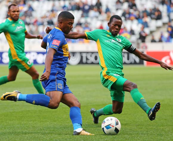 Lyle Lakay of Cape Town City FC challenged by Olaleng Shaku of Baroka FC during the Absa Premiership 2017/18 football match between Cape Town City FC and Baroka FC at Cape Town Stadium, Cape Town on 21 November 2017 ©Chris Ricco/BackpagePix