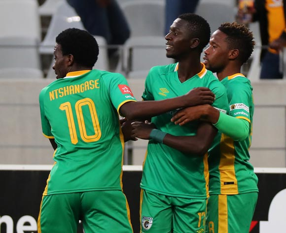 Robin Ngalande of Baroka FC (c) celebrates goal with teammates during the Absa Premiership 2017/18 football match between Cape Town City FC and Baroka FC at Cape Town Stadium, Cape Town on 21 November 2017 ©Chris Ricco/BackpagePix