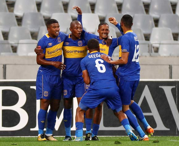 Craig Martin of Cape Town City FC celebrates goal with teammates during the Absa Premiership 2017/18 football match between Cape Town City FC and Baroka FC at Cape Town Stadium, Cape Town on 21 November 2017 ©Chris Ricco/BackpagePix