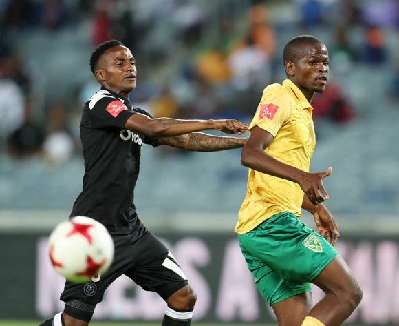 Nkanyiso Mngwengwe of Golden Arrows challenged by Thembinkosi Lorch of Orlando Pirates during the Absa Premiership 2017/18 match between Orlando Pirates and Golden Arrows at Orlando Stadium, Soweto South Africa on 21 November 2017 ©Muzi Ntombela/BackpagePix