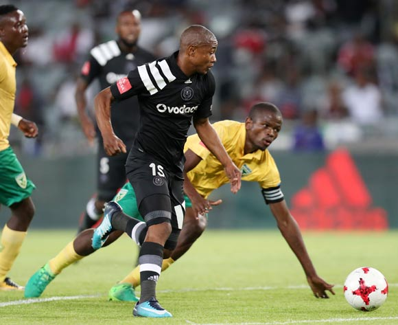 Thabo Qalinge of Orlando Pirates challenged by Nkanyiso Mngwengwe of Golden Arrows during the Absa Premiership 2017/18 match between Orlando Pirates and Golden Arrows at Orlando Stadium, Soweto South Africa on 21 November 2017 ©Muzi Ntombela/BackpagePix