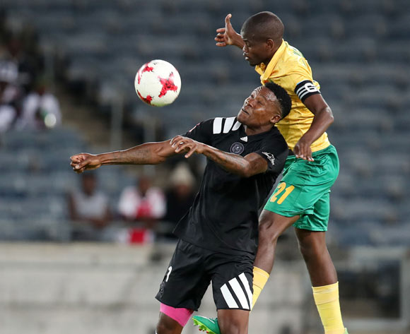 Thamsanqa Gabuza of Orlando Pirates shields ball from Nkanyiso Mngwengwe of Golden Arrows during the Absa Premiership 2017/18 match between Orlando Pirates and Golden Arrows at Orlando Stadium, Soweto South Africa on 21 November 2017 ©Muzi Ntombela/BackpagePix
