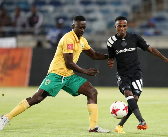 Thembinkosi Lorch of Orlando Pirates challenged by Limbikani Mzava of Golden Arrows during the Absa Premiership 2017/18 match between Orlando Pirates and Golden Arrows at Orlando Stadium, Soweto South Africa on 21 November 2017 ©Muzi Ntombela/BackpagePix