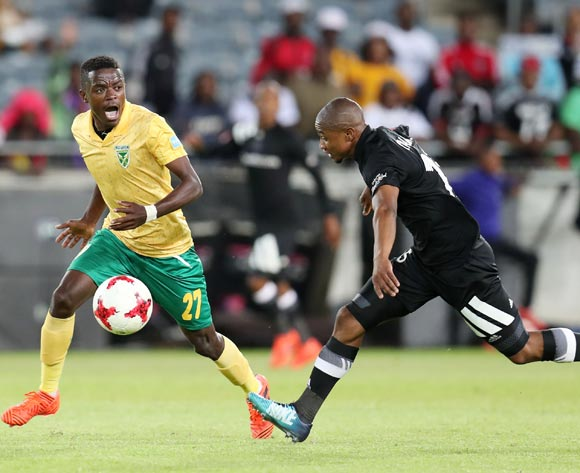 Nkanyiso Mngwengwe of Golden Arrows fouled by Thabo Qalinge of Orlando Pirates during the Absa Premiership 2017/18 match between Orlando Pirates and Golden Arrows at Orlando Stadium, Soweto South Africa on 21 November 2017 ©Muzi Ntombela/BackpagePix