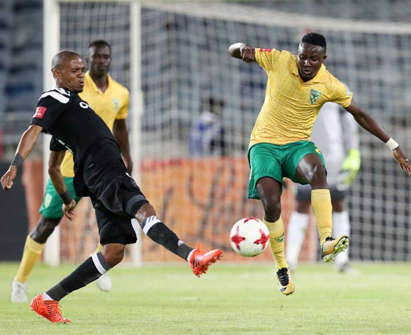 Zolani Nkombelo of Golden Arrows challenged by Gladwin Shitolo of Orlando Pirates during the Absa Premiership 2017/18 match between Orlando Pirates and Golden Arrows at Orlando Stadium, Soweto South Africa on 21 November 2017 ©Muzi Ntombela/BackpagePix
