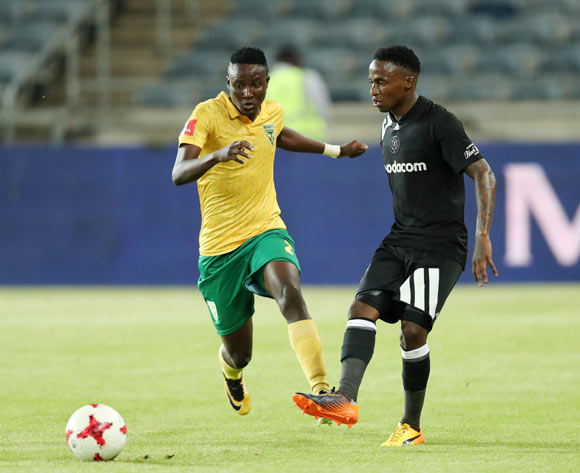 Thembinkosi Lorch of Orlando Pirates challenged by Zolani Nkombelo of Golden Arrows during the Absa Premiership 2017/18 match between Orlando Pirates and Golden Arrows at Orlando Stadium, Soweto South Africa on 21 November 2017 ©Muzi Ntombela/BackpagePix