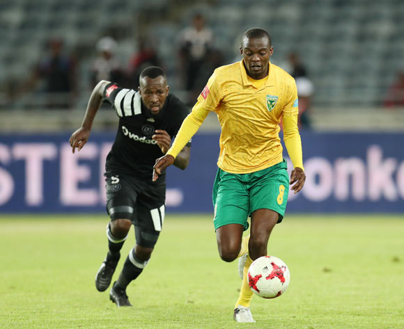 Nkanyiso Cele of Golden Arrows challenged by Mpho Makola of Orlando Pirates during the Absa Premiership 2017/18 match between Orlando Pirates and Golden Arrows at Orlando Stadium, Soweto South Africa on 21 November 2017 ©Muzi Ntombela/BackpagePix