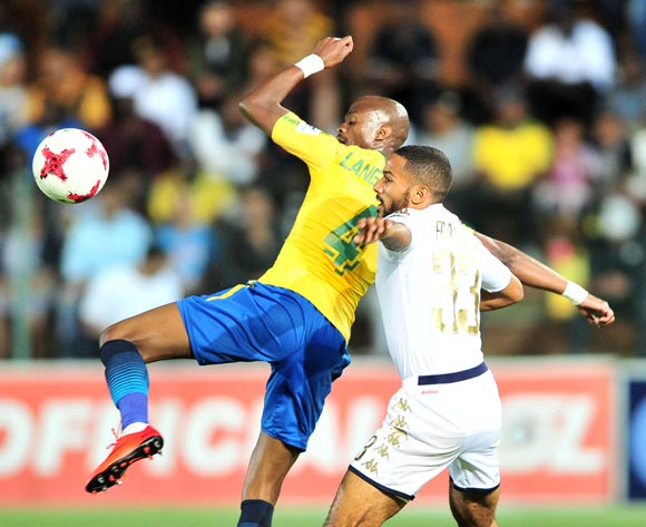Tebogo Langerman of Mamelodi Sundowns challenged by Reeve Frosler of Bidvest Wits during the Absa Premiership 2017/18 football match between Bidvest Wits and Mamelodi Sundowns at Bidvest Stadium, Johannesburg on 21 November 2017 ©Samuel Shivambu/BackpagePix