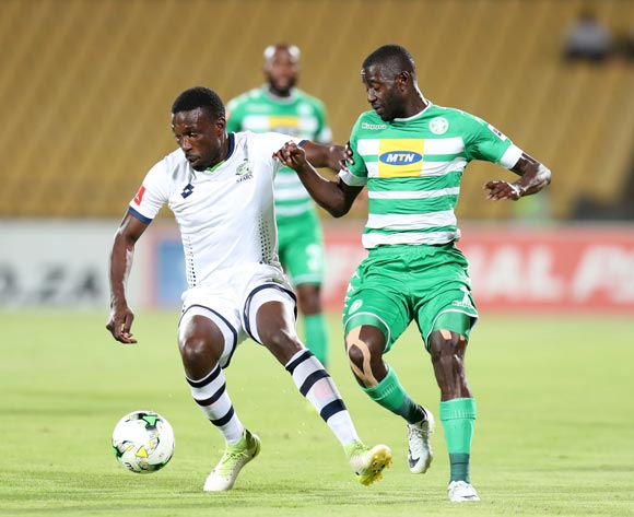 Willem Mwedihanga of Platinum Stars challenged by Deon Hotto of Bloemfontein Celtic during the Absa Premiership 2017/18 match between Platinum Stars and Bloemfontein Celtic at Royal Bafokeng Stadium, Rustenburg South Africa on 22 November 2017 ©Muzi Ntombela/BackpagePix