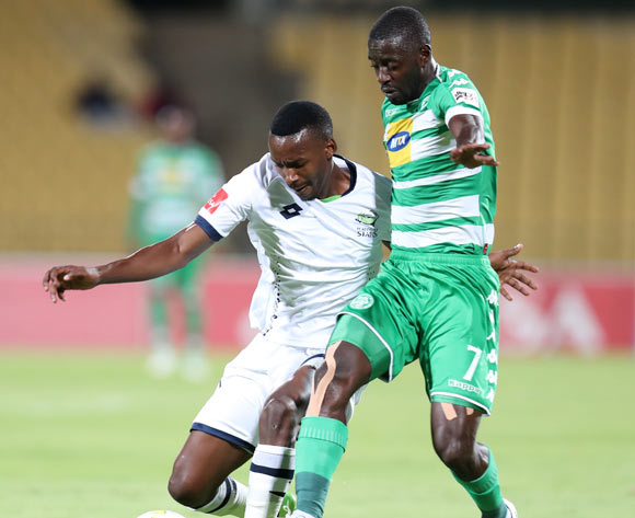 Siphiwe Mnguni of Platinum Stars challenged by Deon Hotto of Bloemfontein Celtic during the Absa Premiership 2017/18 match between Platinum Stars and Bloemfontein Celtic at Royal Bafokeng Stadium, Rustenburg South Africa on 22 November 2017 ©Muzi Ntombela/BackpagePix