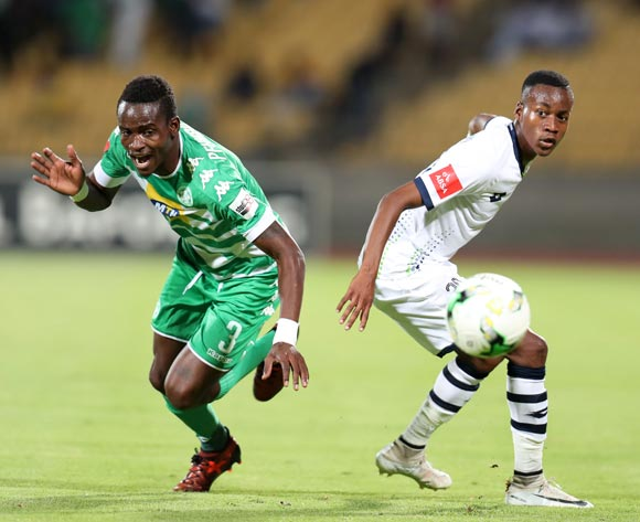 Ronald Pfumbidzai of Bloemfontein Celtic fouled by Katlego Otladisa of Platinum Stars during the Absa Premiership 2017/18 match between Platinum Stars and Bloemfontein Celtic at Royal Bafokeng Stadium, Rustenburg South Africa on 22 November 2017 ©Muzi Ntombela/BackpagePix