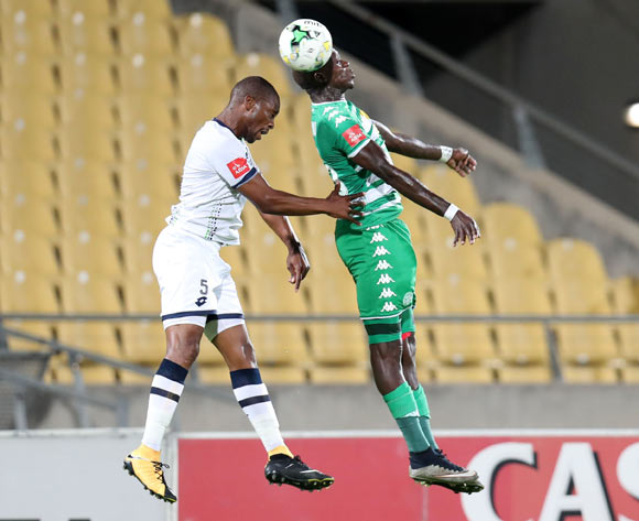 Gift Sithole of Platinum Stars challenged by Roggert Nyundu of Bloemfontein Celtic during the Absa Premiership 2017/18 match between Platinum Stars and Bloemfontein Celtic at Royal Bafokeng Stadium, Rustenburg South Africa on 22 November 2017 ©Muzi Ntombela/BackpagePix