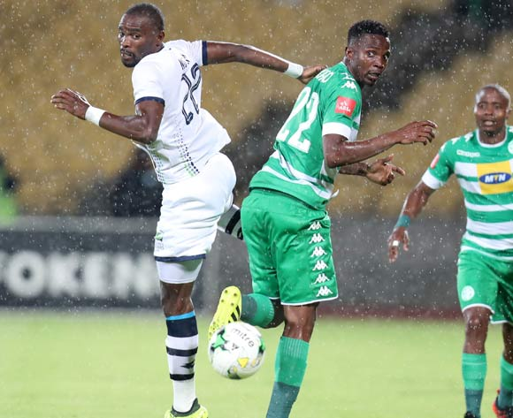 Robert Ngambi of Platinum Stars challenged by Tshepo Rikhotso of Bloemfontein Celtic during the Absa Premiership 2017/18 match between Platinum Stars and Bloemfontein Celtic at Royal Bafokeng Stadium, Rustenburg South Africa on 22 November 2017 ©Muzi Ntombela/BackpagePix