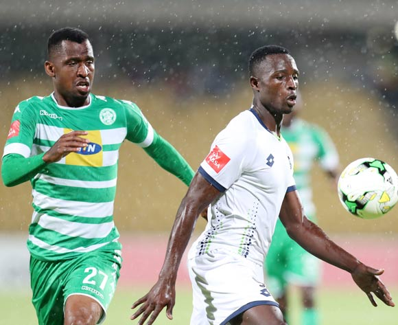 Brian Mwila of Platinum Stars challenged by Alfred Ndengane of Bloemfontein Celtic during the Absa Premiership 2017/18 match between Platinum Stars and Bloemfontein Celtic at Royal Bafokeng Stadium, Rustenburg South Africa on 22 November 2017 ©Muzi Ntombela/BackpagePix