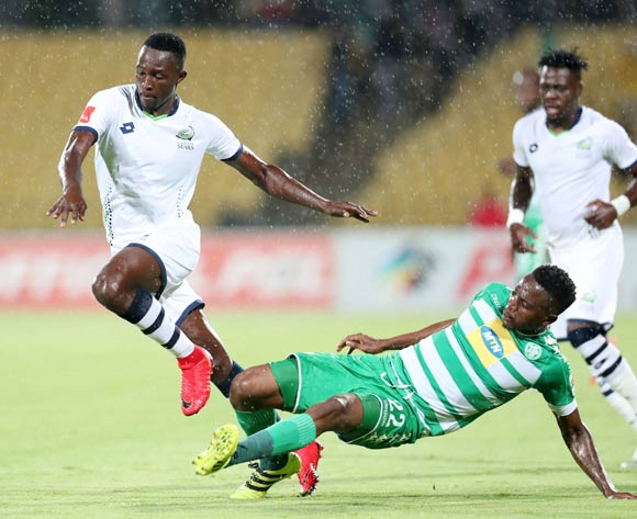 Brian Mwila of Platinum Stars tackled by Tshepo Rikhotso of Bloemfontein Celtic during the Absa Premiership 2017/18 match between Platinum Stars and Bloemfontein Celtic at Royal Bafokeng Stadium, Rustenburg South Africa on 22 November 2017 ©Muzi Ntombela/BackpagePix