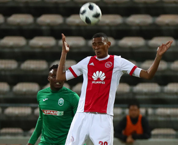 Mario Booysen of Ajax Cape Town challenged by Rhulani Manzini of AmaZulu during the Absa Premiership 2017/18 football match between Ajax Cape Town and AmaZulu at Athlone Stadium, Cape Town on 25 November 2017 ©Chris Ricco/BackpagePix