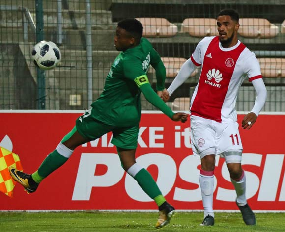 Tashreeq Morris of Ajax Cape Town challenged by Mbongeni Gumede of AmaZulu during the Absa Premiership 2017/18 football match between Ajax Cape Town and AmaZulu at Athlone Stadium, Cape Town on 25 November 2017 ©Chris Ricco/BackpagePix