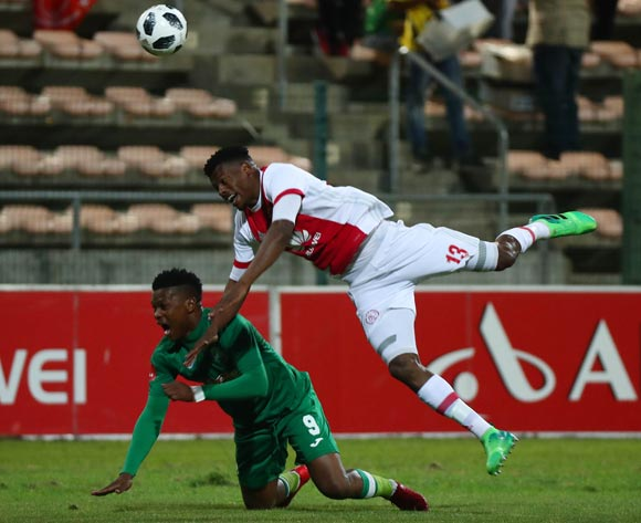 Isaac Nhlapo of Ajax Cape Town battles for the ball with Mhlengi Cele of AmaZulu during the Absa Premiership 2017/18 football match between Ajax Cape Town and AmaZulu at Athlone Stadium, Cape Town on 25 November 2017 ©Chris Ricco/BackpagePix