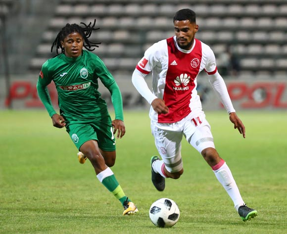 Tashreeq Morris of Ajax Cape Town evades challenge from Siyethemba Mnguni of AmaZulu during the Absa Premiership 2017/18 football match between Ajax Cape Town and AmaZulu at Athlone Stadium, Cape Town on 25 November 2017 ©Chris Ricco/BackpagePix