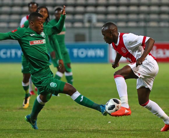 Masilake Phohlongo of Ajax Cape Town challenged by Thembela Sikhakhane of AmaZulu during the Absa Premiership 2017/18 football match between Ajax Cape Town and AmaZulu at Athlone Stadium, Cape Town on 25 November 2017 ©Chris Ricco/BackpagePix