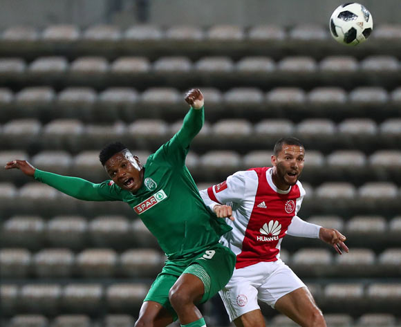 Mhlengi Cele of AmaZulu battles for the ball with Roscoe Pietersen of Ajax Cape Town during the Absa Premiership 2017/18 football match between Ajax Cape Town and AmaZulu at Athlone Stadium, Cape Town on 25 November 2017 ©Chris Ricco/BackpagePix