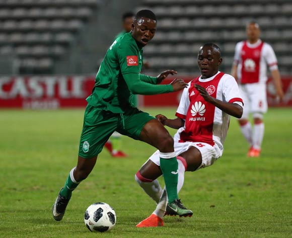 Butholezwe Ncube of AmaZulu evades challenge from Masilake Phohlongo of Ajax Cape Town during the Absa Premiership 2017/18 football match between Ajax Cape Town and AmaZulu at Athlone Stadium, Cape Town on 25 November 2017 ©Chris Ricco/BackpagePix