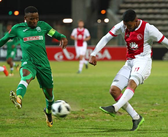 Tashreeq Morris of Ajax Cape Town evades challenge from Mbongeni Gumede of AmaZulu during the Absa Premiership 2017/18 football match between Ajax Cape Town and AmaZulu at Athlone Stadium, Cape Town on 25 November 2017 ©Chris Ricco/BackpagePix