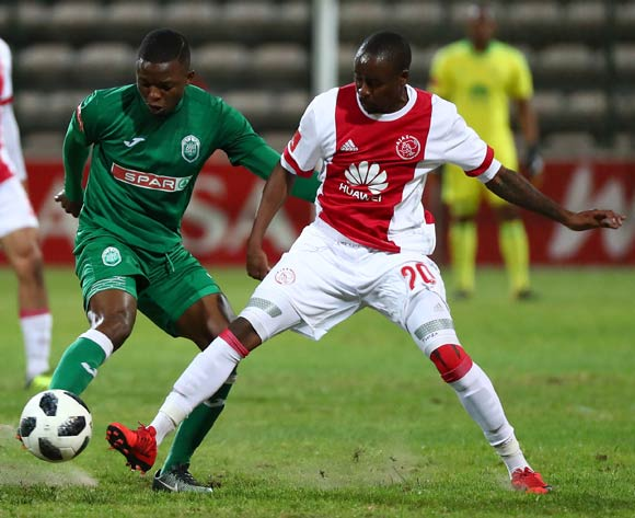 Butholezwe Ncube of AmaZulu battles for the ball with Bantu Mzwakali of Ajax Cape Town during the Absa Premiership 2017/18 football match between Ajax Cape Town and AmaZulu at Athlone Stadium, Cape Town on 25 November 2017 ©Chris Ricco/BackpagePix