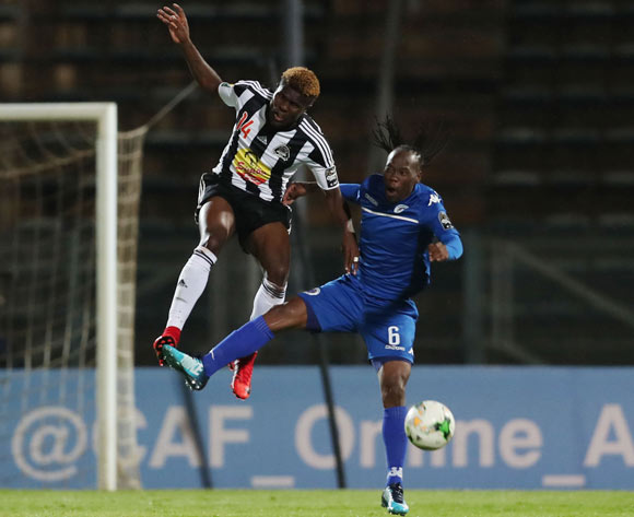 Chongo Kabaso of TP Mazembe challenged by Reneilwe Letsholonyane of Supersport United during the 2017 CAF Confederations Cup Final Second Leg football match between Supersport United and TP Mazembe at Lucas Moripe Stadium in Pretoria, South Africa on 25 November 2017 @Gavin Barker/BackpagePix