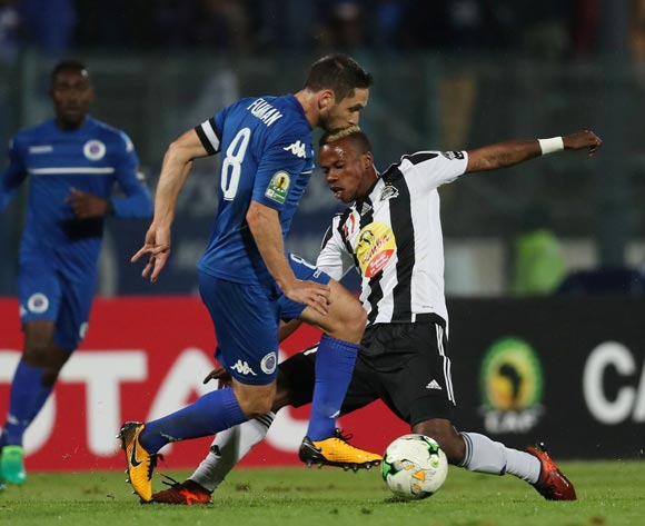 Michee Mika of TP Mazembe tackles Dean Furman of Supersport United  during the 2017 CAF Confederations Cup Final Second Leg football match between Supersport United and TP Mazembe at Lucas Moripe Stadium in Pretoria, South Africa on 25 November 2017 @Gavin Barker/BackpagePix