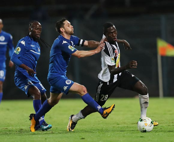 Ben Ngita of TP Mazembe challenged by Dean Furman of Supersport United during the 2017 CAF Confederations Cup Final Second Leg football match between Supersport United and TP Mazembe at Lucas Moripe Stadium in Pretoria, South Africa on 25 November 2017 @Gavin Barker/BackpagePix