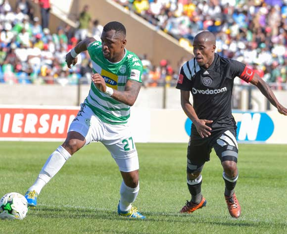 Alfred Ndengane of Bloemfontein Celtic and Thabo Matlaba of Orlando Pirates during the Absa Premiership 2017/18 game between Bloemfontein Celtic and Orlando Pirates at Dr Molemela Stadium, Bloemfontein on 26 November 2017 © Frikke Kapp/BackpagePix