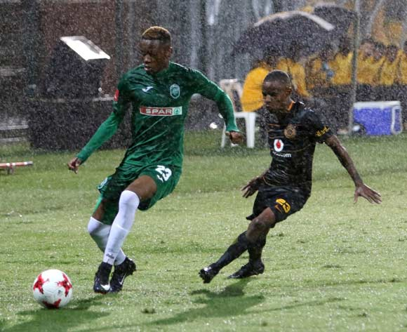 Ovidy Karuru of AmaZulu is challenged by Joseph Molangoane of Kaizer Chiefs in the pouring rain during the Absa Premiership 2017/18 game between AmaZulu and Kaizer Chiefs at King Zwelithini Stadium, Durban on 22 November 2017 © Brian Spurr/BackpagePix
