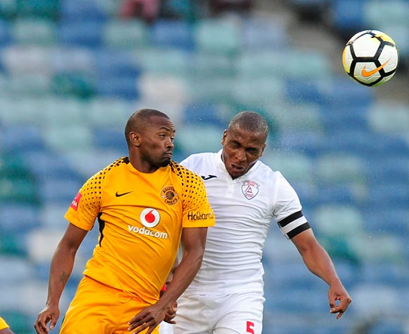 Bernard Parker of Kaizer Chiefs FC and Paulus Masehe Captain of Free State Stars FC compete for the high ball during the Absa Premiership 2017/18 game between Kaizer Chiefs and Free State Stars at Moses Mabhida Stadium, Durban on 25 November 2017 © Gerhard Duraan/BackpagePix