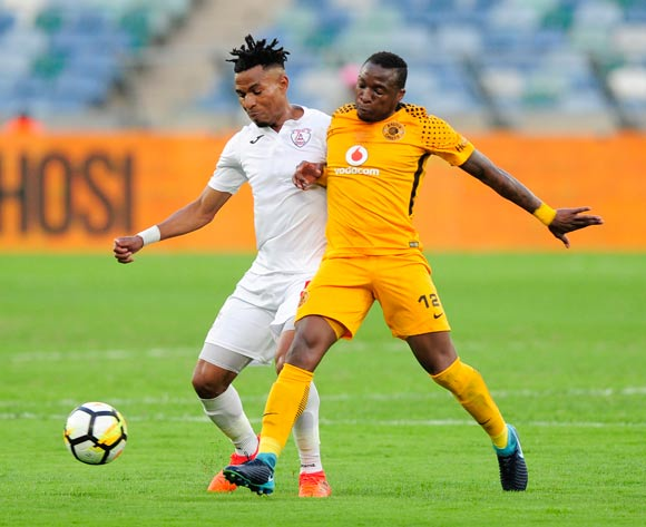 Nhlanhla Vilakazi of Free State Stars FC gets the ball away from George Maluleka of Kaizer Chiefs FC during the Absa Premiership 2017/18 game between Kaizer Chiefs and Free State Stars at Moses Mabhida Stadium, Durban on 25 November 2017 © Gerhard Duraan/BackpagePix