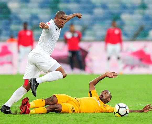 Paulos Masehe, Captain of Free State Stars FC gets past the defence of Bernard Parker of Kaizer Chiefs FC during the Absa Premiership 2017/18 game between Kaizer Chiefs and Free State Stars at Moses Mabhida Stadium, Durban on 25 November 2017 © Gerhard Duraan/BackpagePix