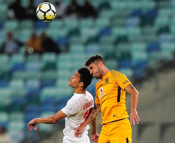 Daniel Cardoso of Kaizer Chiefs FC wins the mid-air battle with Jared Abrahams of Free State Stars FC during the Absa Premiership 2017/18 game between Kaizer Chiefs and Free State Stars at Moses Mabhida Stadium, Durban on 25 November 2017 © Gerhard Duraan/BackpagePix