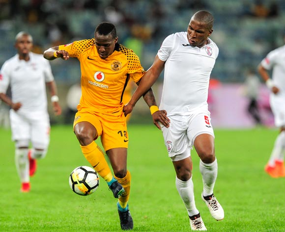 George Maluleka of Kaizer Chiefs FC keeps Paulos Masehe, Captain of Free State Stars FC away from the ball as the compete for possession during the Absa Premiership 2017/18 game between Kaizer Chiefs and Free State Stars at Moses Mabhida Stadium, Durban on 25 November 2017 © Gerhard Duraan/BackpagePix